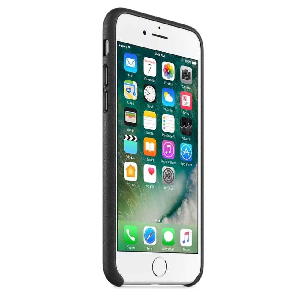 capac protectie spate apple leather case black pentru iphone 7 mmy52zm 1