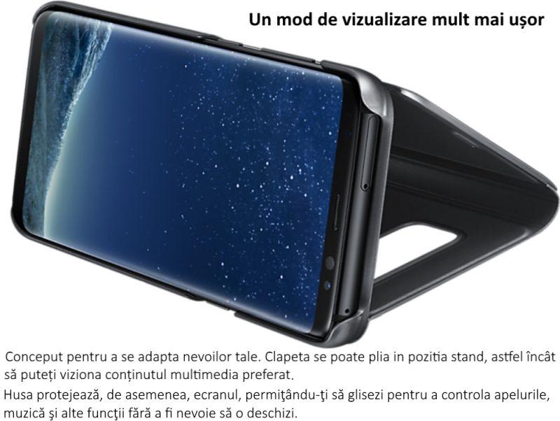 husa clear view stand cover pentru samsung galaxy s8 g950 ef zg950cbegww black