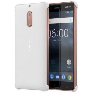 Capac protectie spate Carbon Fibre Design pentru Nokia 6, CC-802 Pearl White