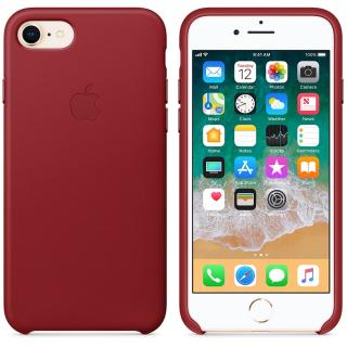 Capac protectie spate Apple Leather Case Red pentru iPhone 8 / iPhone 7, MQHA2ZM/A