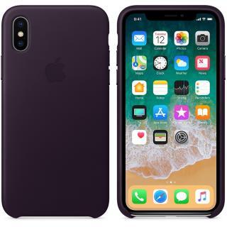 Capac protectie spate Leather Case Dark Aubergine pentru Apple iPhone X, MQTG2ZM/A