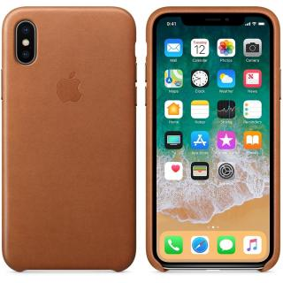 Capac protectie spate Leather Case Saddle Brown pentru Apple iPhone X, MQTA2ZM/A
