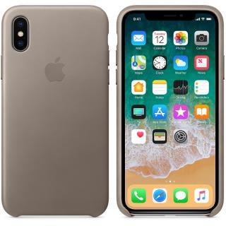 Capac protectie spate Leather Case Taupe pentru Apple iPhone X, MQT92ZM/A