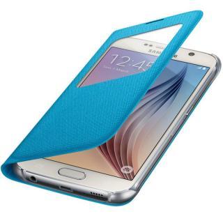 Husa S View Blue Fabric pentru Samsung Galaxy S6 (G920), EF-CG920BLEGWW