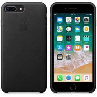 Capac protectie spate Apple Leather Black pentru iPhone 8 Plus /iPhone 7 Plus, MQHM2ZM/A