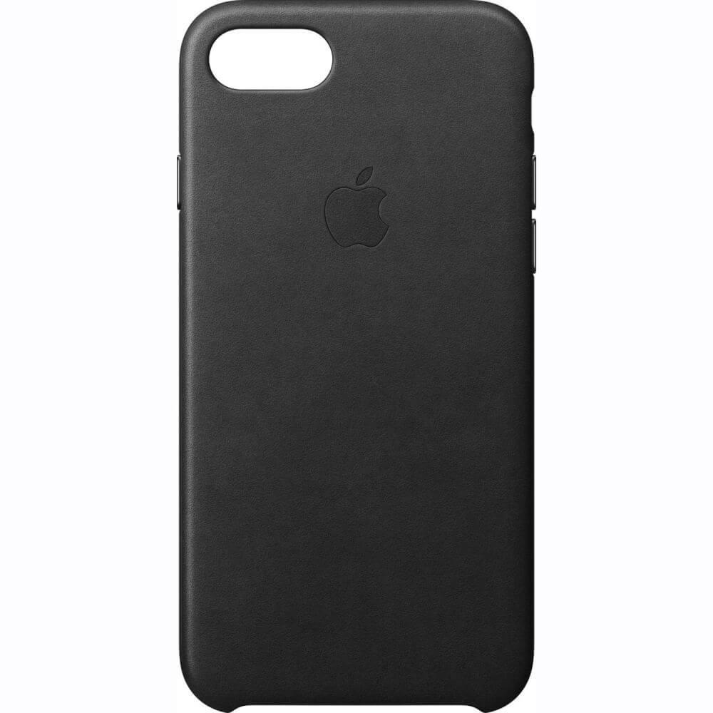 Capac protectie spate Apple Leather Case Black pentru iPhone 7, MMY52ZM/A