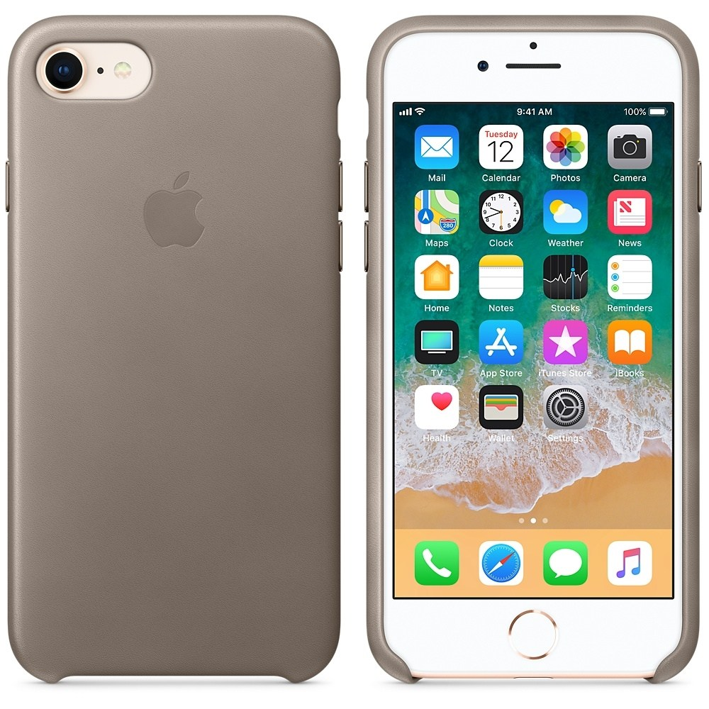 Capac protectie spate Apple Leather Case Taupe pentru iPhone 8 / iPhone 7, MQH62ZM/A