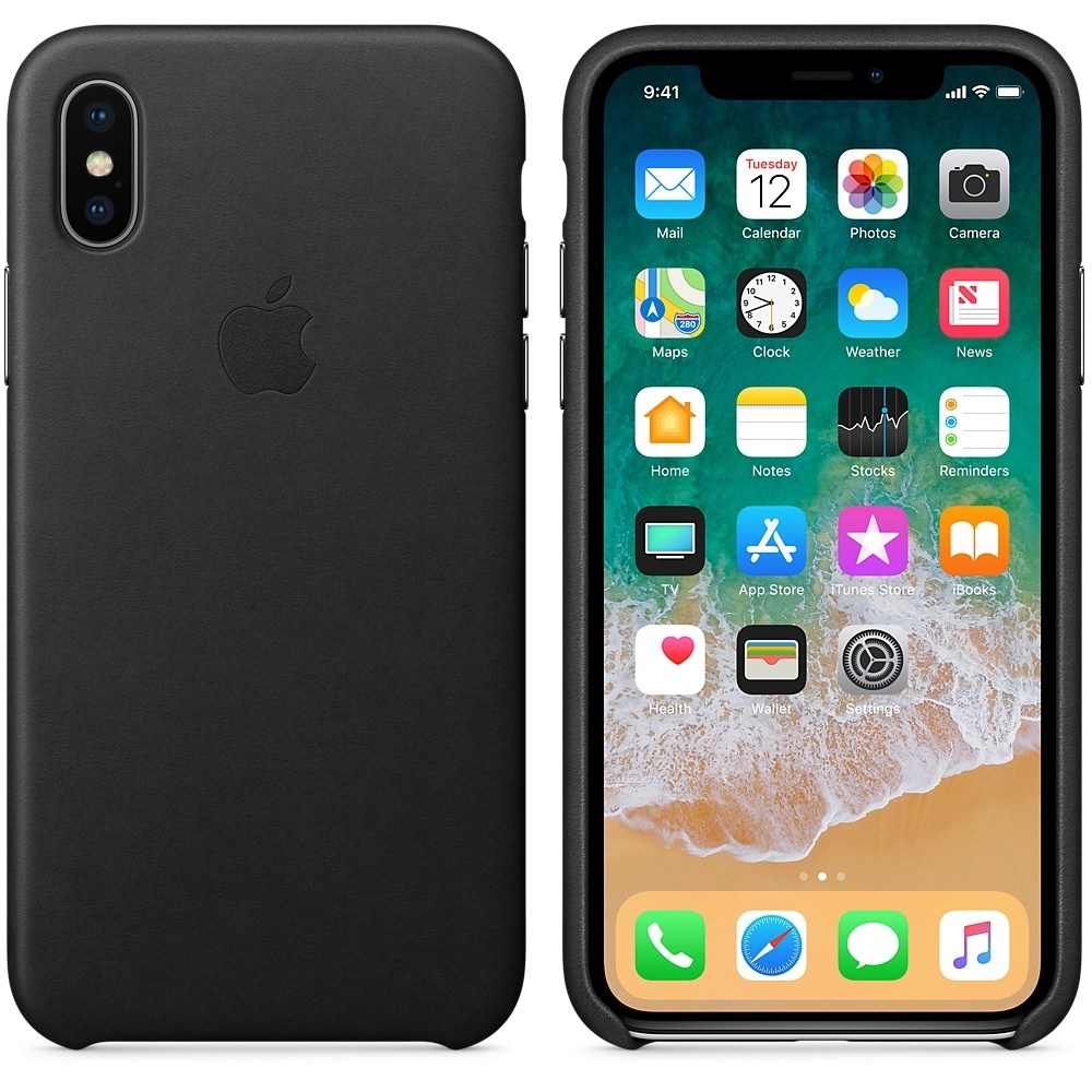 Capac protectie spate Leather Case Black pentru Apple iPhone X, MQTD2ZM/A