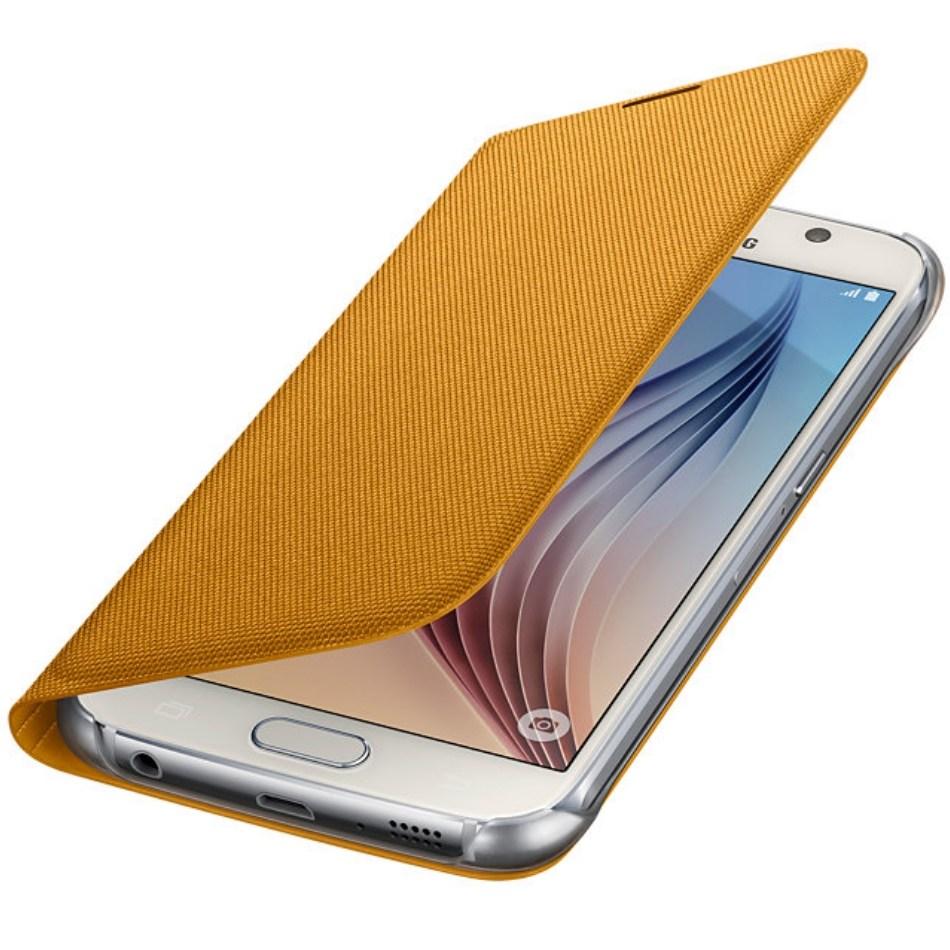 Husa Flip Wallet Yellow Fabric pentru Samsung Galaxy S6 (G920), EF-WG920BYEGWW