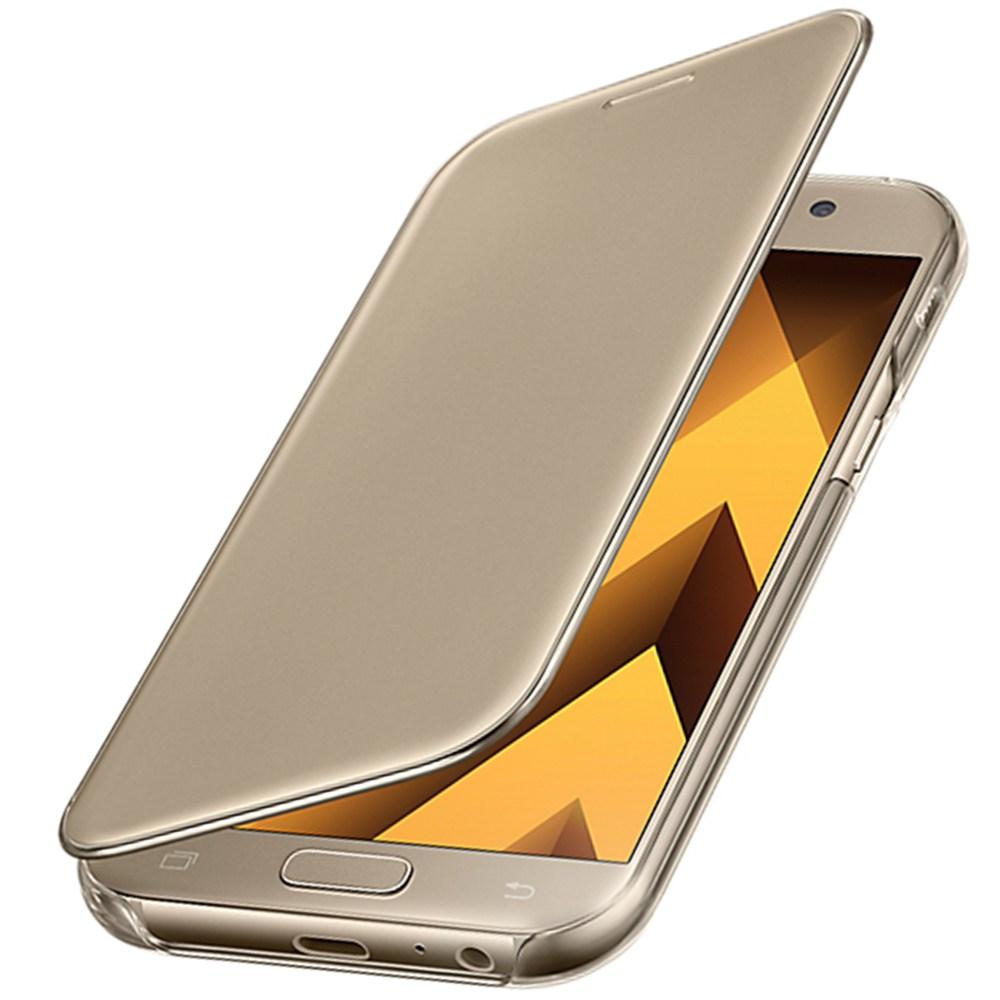 Husa Clear View Cover pentru Samsung Galaxy A5 (2017), EF-ZA520CFEGWW Gold