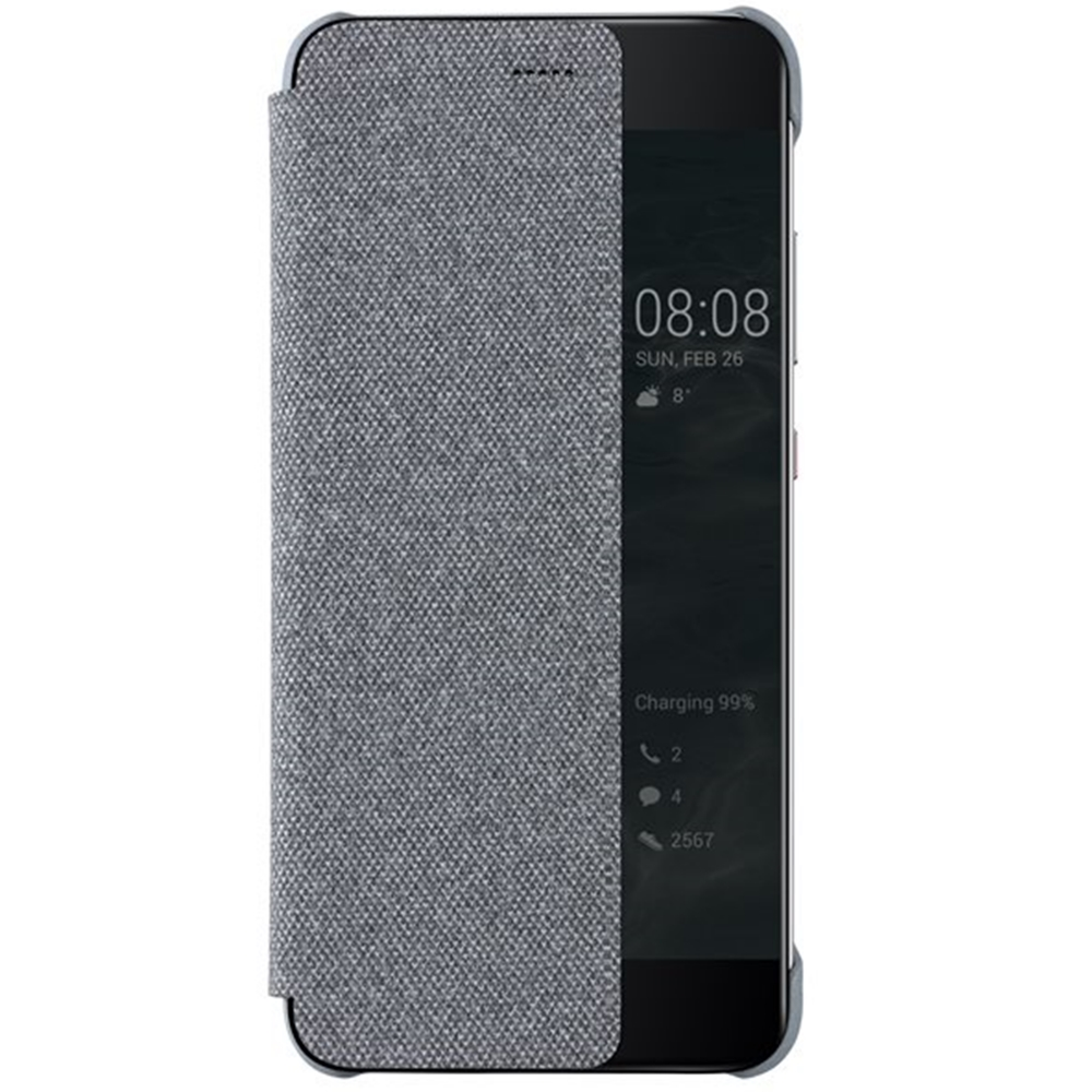 Husa Flip Smart View Cover 51991888 pentru Huawei P10, Light Grey