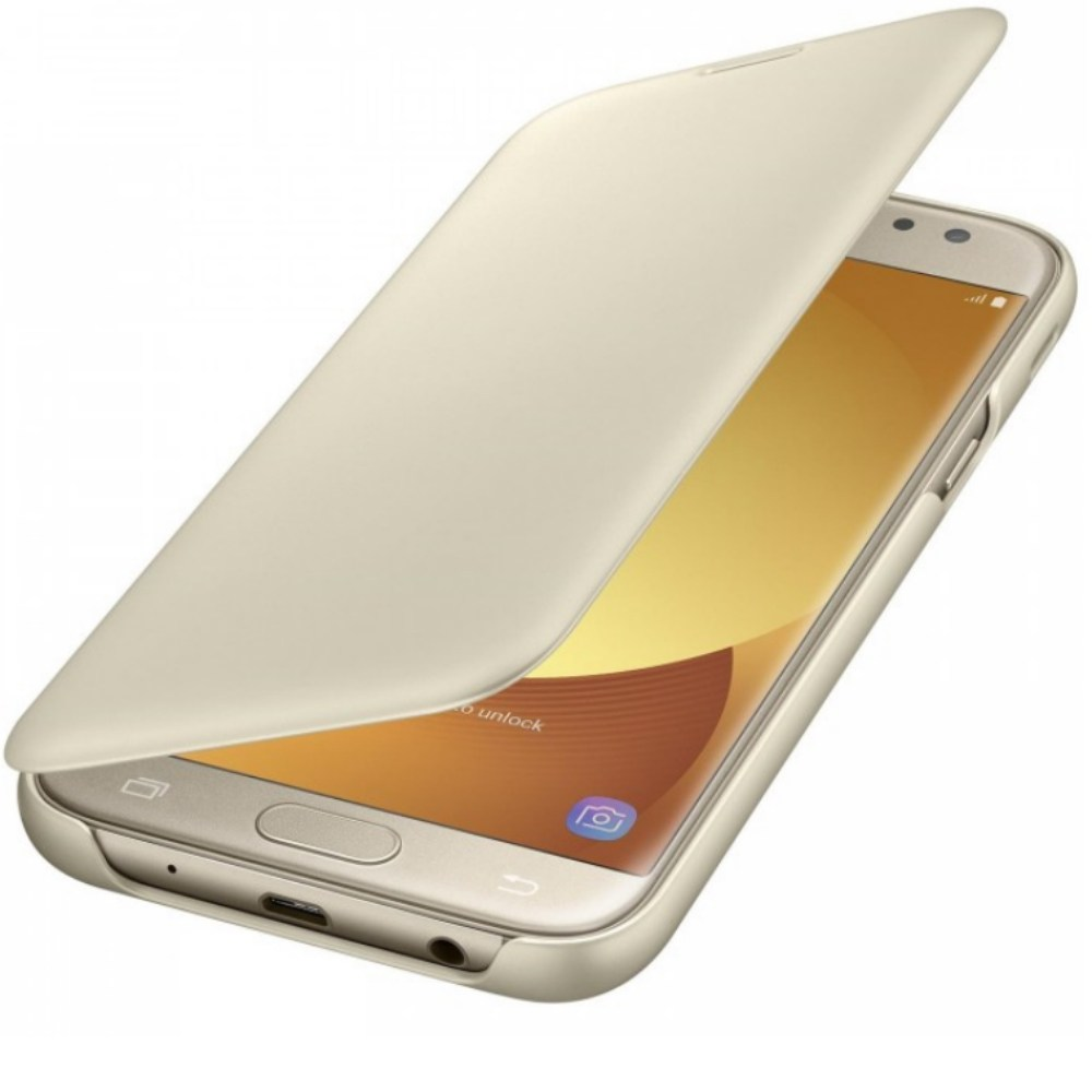 Husa Flip Wallet pentru Samsung Galaxy J5 2017 (J530), EF-WJ530CF Gold