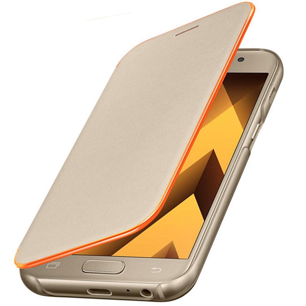Husa Neon Flip Cover pentru Samsung Galaxy A3 (2017), EF-FA320PFEGWW Gold