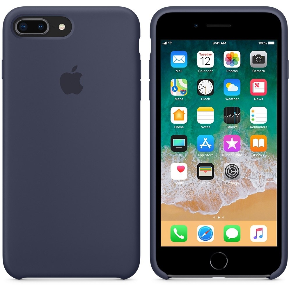 Capac protectie spate Apple Silicone Case Midnight Blue pentru iPhone 8 Plus/ iPhone 7 Plus, MQGY2ZM/A